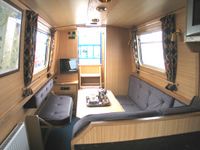 The Jobi Red  Canal Boat Interior